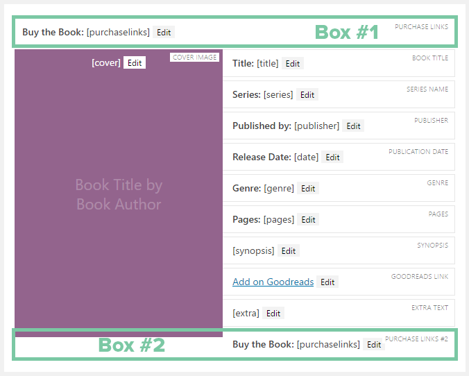 Two purchase links boxes in the Book Layout builder