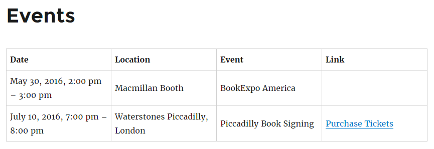 Displaying a table of events