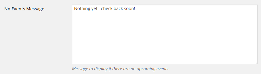 No events message