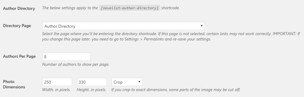 Author directory settings